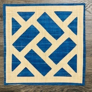 Dark Blue Trellis Raffia Placemats Set of 4 - The Preppy Bunny