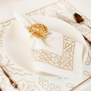 Don't Fret Gold Embroidered Dinner Napkins Set of 4 - The Preppy Bunny