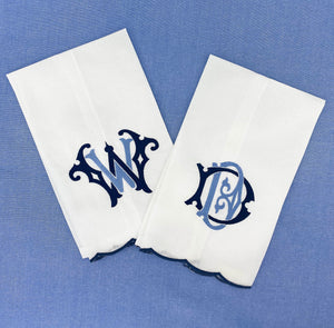 Navy Scallop Trim Monogram Linen Guest Towel - The Preppy Bunny