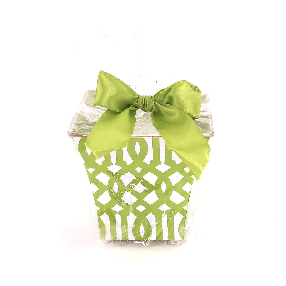 Green Fret Cachepot Candle with Monogram - The Preppy Bunny