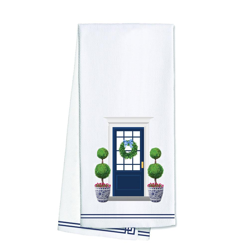 Chinoiserie Navy Front Door Tea Towel - The Preppy Bunny