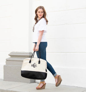 Linen Duffle Weekend Bag - The Preppy Bunny