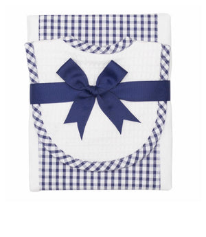Navy Check Drooler Bib & Burp Set - The Preppy Bunny