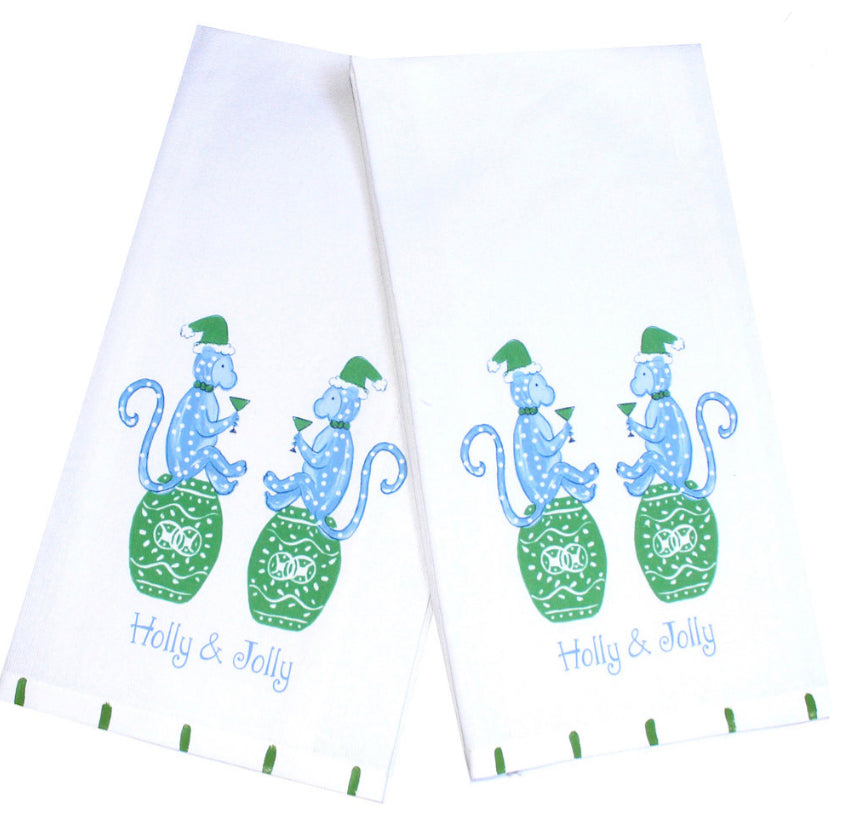 Christmas Monkeys Blue Kitchen Towel - The Preppy Bunny