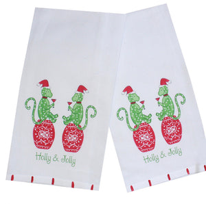 Christmas Monkeys in Red Kitchen Towel - The Preppy Bunny