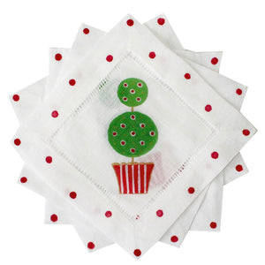 Christmas Topiary Cocktail Napkins - The Preppy Bunny