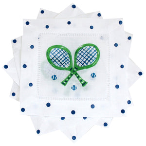 Green and Navy Tennis Cocktail Napkins - The Preppy Bunny