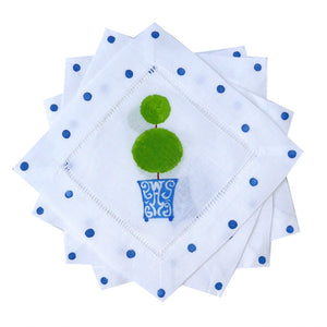 Chinoiserie Blue Topiary Cocktail Napkins - The Preppy Bunny