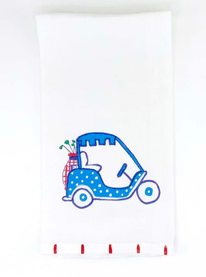 Golf Cart in Blue Kitchen Towel - The Preppy Bunny