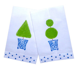 Chinoiserie Blue Topiary Guest Towel - The Preppy Bunny