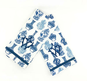 Blue Ginger Jar Towel with Monogram Set of 2 - The Preppy Bunny