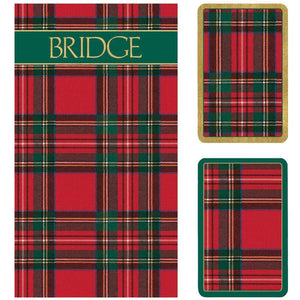 Plaid Large Type Bridge Gift Set - 2 Playing Card Decks & 2 Score Pads - The Preppy Bunny