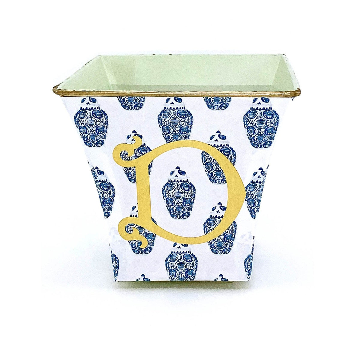 Ginger Jar Blue Cachepot Candle with Monogram - The Preppy Bunny