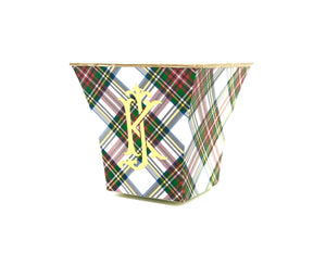 Stewart Plaid Cachepot Candle with Monogram - The Preppy Bunny