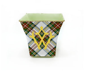 Red Tartan Plaid Cachepot Candle with Monogram - The Preppy Bunny