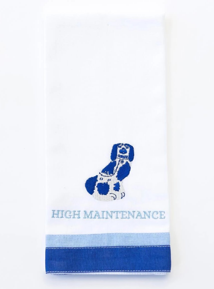 High Maintenance Staffordshire Spaniel Fingertip Towel Set of 2 - The Preppy Bunny