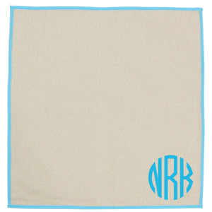 Jute Dinner Napkins Turquoise Trim Set of 4 - The Preppy Bunny