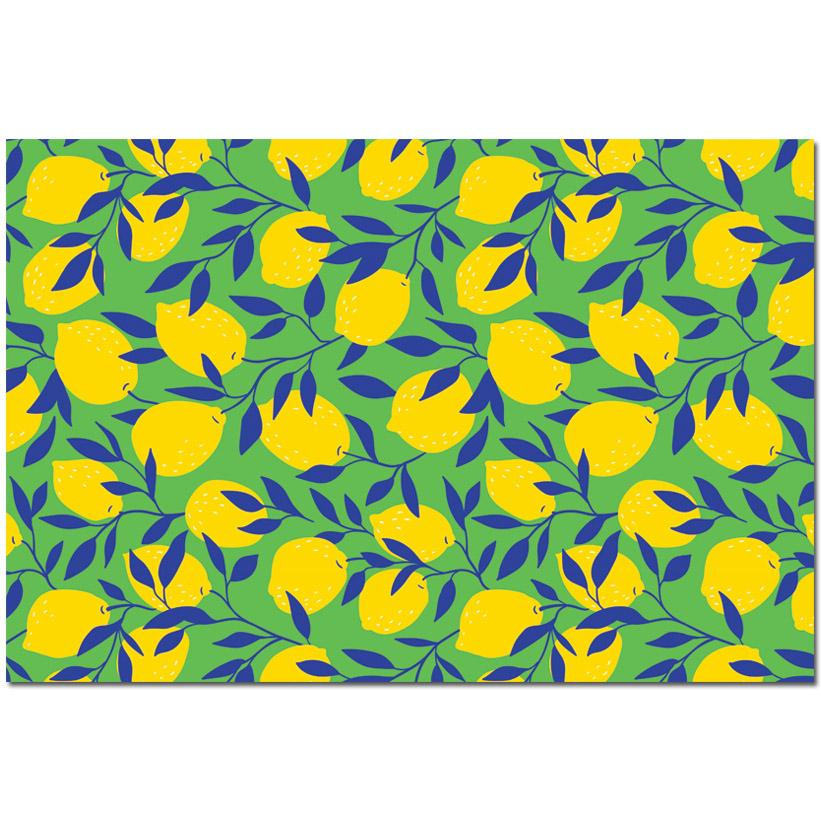 Lemon Block Print Paper Placemats - The Preppy Bunny