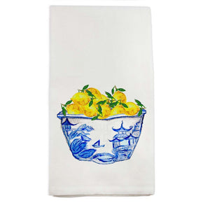 Lemons in Chinoiserie Bowl Tea Towel - The Preppy Bunny