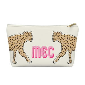 Leopard Duo Monogram Large Zippered Pouch - The Preppy Bunny