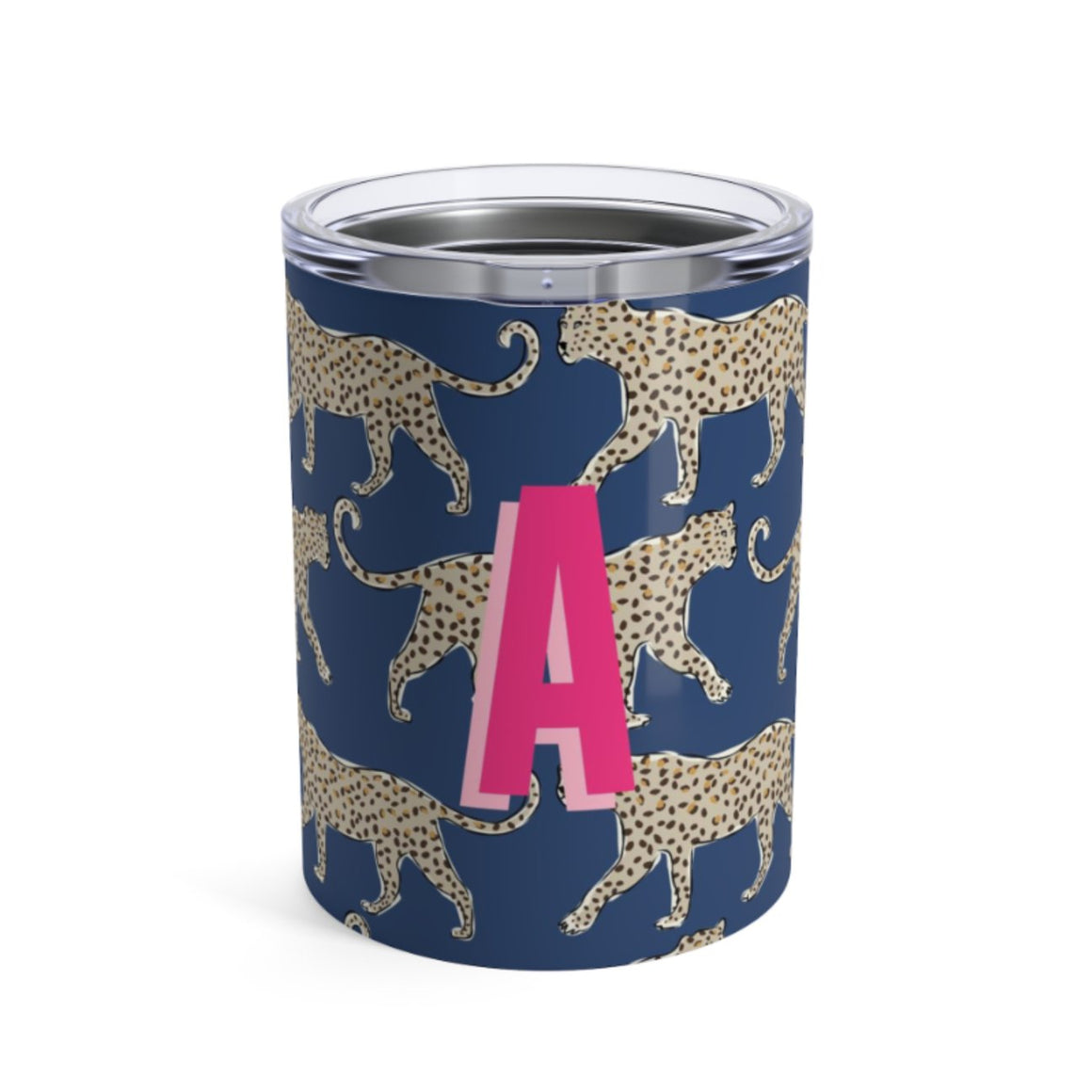 Small Leopard Navy Tumbler - The Preppy Bunny