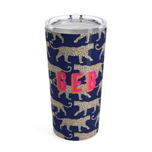 Large Leopard Navy Tumbler - The Preppy Bunny