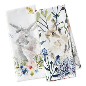Floral Bunnies Dishtowel set of 2 - The Preppy Bunny