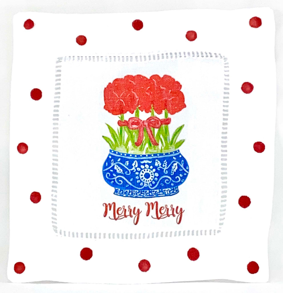 Chinoiserie Amaryllis Merry Merry Linen Napkins Cocktail - The Preppy Bunny