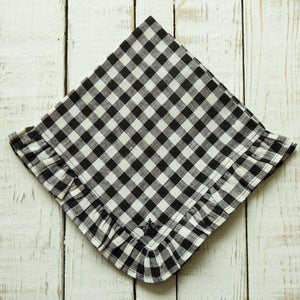 Checkered Black Ruffle Napkin - The Preppy Bunny