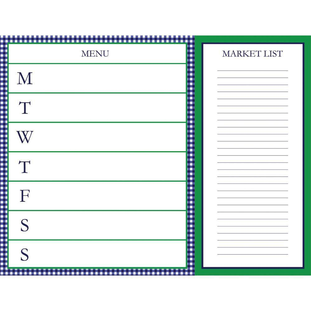 Meal Planner with Tear Off Market List Notepad - The Preppy Bunny