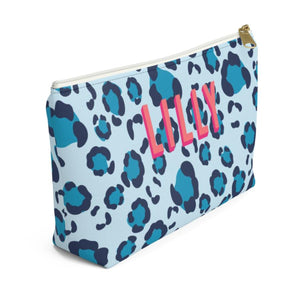 Leopard Spots Blue Large Zippered Monogram Pouch - The Preppy Bunny