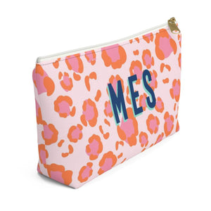 Leopard Spots Pink Large Zippered Monogram Pouch - The Preppy Bunny