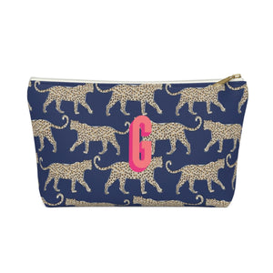 Leopard Navy Large Zippered Monogram Pouch - The Preppy Bunny