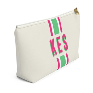 Stripe Pink & Green Monogram Large Zippered Pouch - The Preppy Bunny
