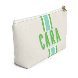 Stripe Limeade Monogram Large Zippered Pouch - The Preppy Bunny