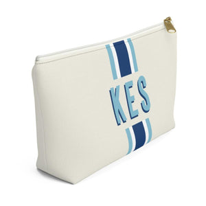 Stripe Navy & Blue Monogram Large Zippered Pouch - The Preppy Bunny