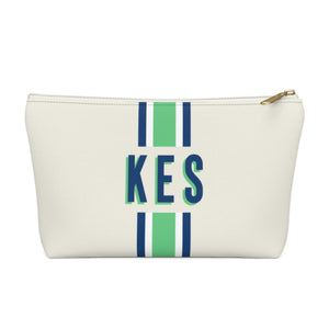 Stripe Green & Navy Monogram Large Zippered Pouch - The Preppy Bunny