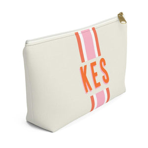 Stripe Pink and Orange Zippered Monogram Pouch - The Preppy Bunny