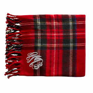 Red Plaid Tartan Throw Blanket with Monogram - The Preppy Bunny