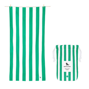 Cabana Stripe Cancun Green Beach Towel with Monogram - The Preppy Bunny