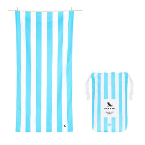 Cabana Stripe Tulum Blue Beach Towel with Monogram - The Preppy Bunny