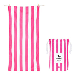 Cabana Stripe Phi Phi Pink Beach Towel with Monogram - The Preppy Bunny