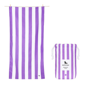 Cabana Stripe Brighton Purple Beach Towel with Monogram - The Preppy Bunny