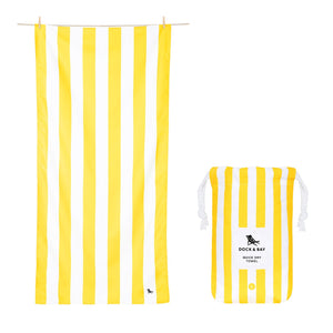 Yellow Cabana Stripe Beach Towel with Monogram - The Preppy Bunny