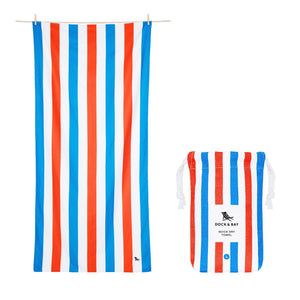 Cabana Stripe Red and Blue Beach Towel with Monogram - The Preppy Bunny