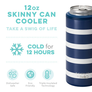 SCOUT + Swig Nantucket Navy Skinny Can Cooler (12oz) - The Preppy Bunny