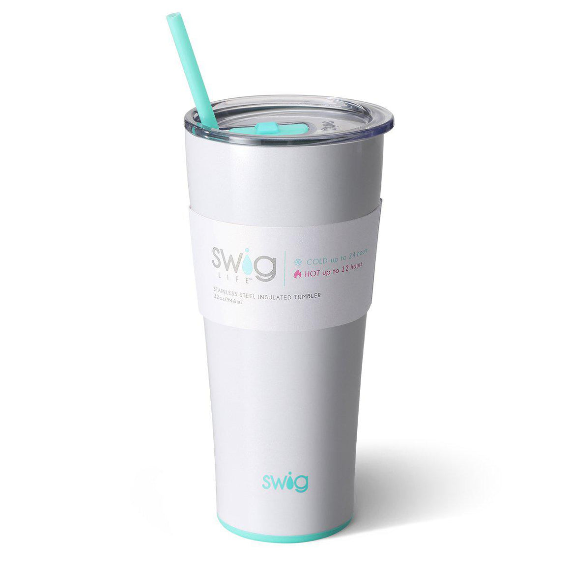 Swig Insulated 32oz Diamond White Personalized Tumbler - The Preppy Bunny