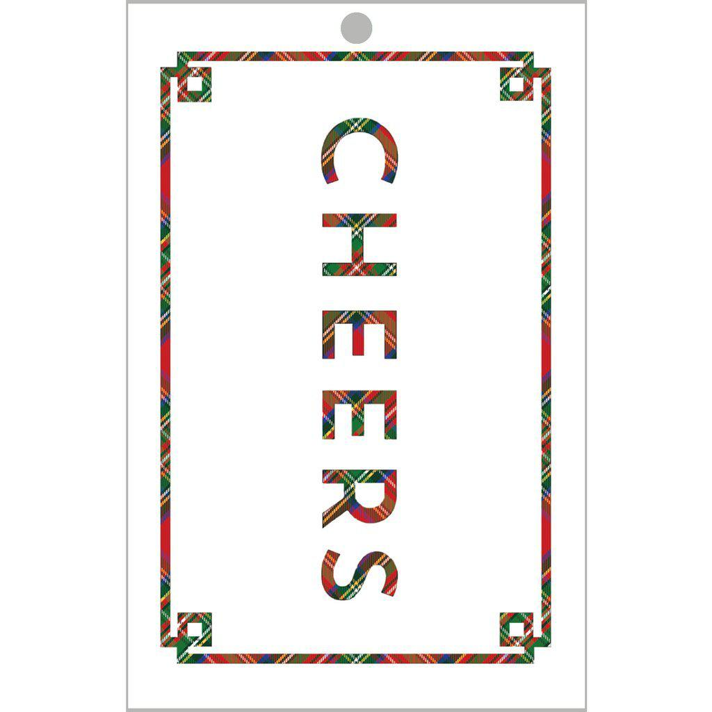 Cheers Tartan Die-Cut Gift Tags - The Preppy Bunny