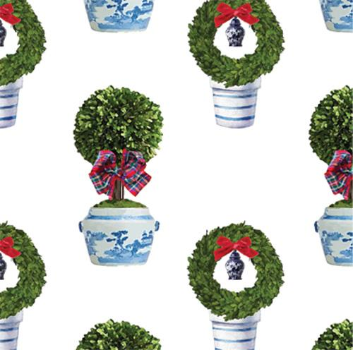 Tartan Topiary Wrapping Paper - The Preppy Bunny
