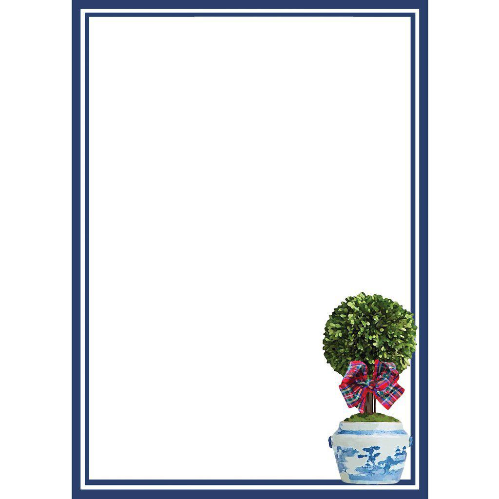 Tartan Topiary Notepad - The Preppy Bunny